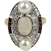 Art deco ring with opal, diamonds and rubies, 18K gold