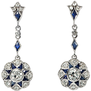 Art deco earings 14K whitte gold, sapphires and diamonds