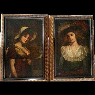 Pair of paintings - two ladies, around 1780, France