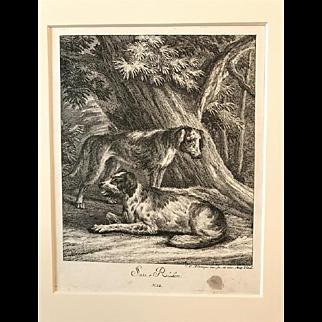 Three engravings - hunting dogs - Johann Elias Ridinger (1698 - 1767)