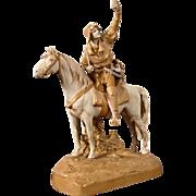 Huge Art Nouveau porcelain sculpture - a rider on horseback. Royal Dux