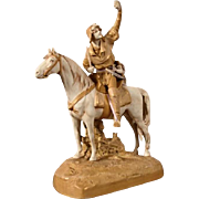 Huge Art Nouveau porcelain sculpture - a rider on horseback. Royal Dux
