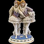 Two dancers porcelain statue