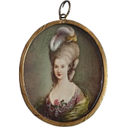 Miniature ladies with feathers - Monogram P. A. H., 19 century.