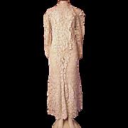 Antique Victorian Irish Lace Wedding Dress Long Hand Made Heavy Medium
