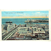 Cuba Havana Prado Main Street Shopping and Morro Castle Postcard 1930s