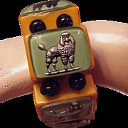 Jan Carlin Designer Glass Intaglio Poodle bakelite bracelet Green