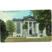 FL Jacksonville 4 Postcards 1920s.30s Library, Railroad Station, Confederate Park, Street Car Downtown