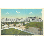 Washington DC Union Station and Postoffice Postcard 1930s Fair Condition