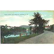NH Ashland River Street and Millpond 1920's Country Road Postcard