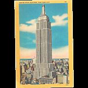 5 NYC Landmarks Postcards Empire State Building, Statue of Liberty, Rockefeller Center Postcard Linen Lot