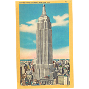 5 NYC Landmarks Postcards Empire State Building, Statue of Liberty, Rockefeller Center Postcard Linen Lot