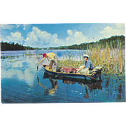 Florida Fishing Postcard 2 Men and a Dog on a Boat Postcard