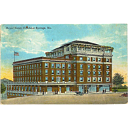 MO Excelsior Springs Royal Hotel Model T 1920's Postcard