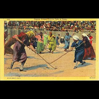 AZ Tuscon Papago Women Playing Taka Chuck Abbot Photo 1930's Linen
