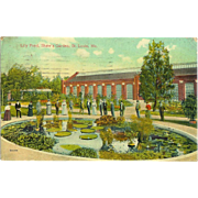 MO St. Louis Lily Pond Shaw's Garden Victorian People Postcard 1900s