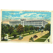 FL Jacksonville St. James Building and Hemming Park Postcard 1930's Model T