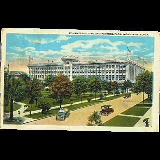 FL Jacksonville St. James Building and Hemming Park Postcard 1930's Model T