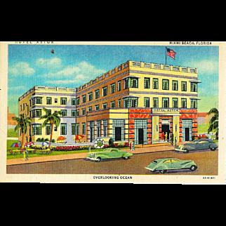 FL Miami Beach Hotel Astor Postcard 1930's Linen Art Deco Moderne