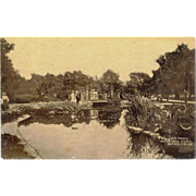 MI Detroit Belle Isle Park Lily Pond RPPC Postcard Victorian People on Bridge 1909