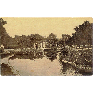 MI Detroit Belle Isle Park Lily Pond RPPC Postcard Victorian People on Bridge 1909