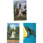 VA Charlottesville 1 Stonewall Jackson Statue Postcard and 2 Tomb Monuments, Cemetery Postcard Lot