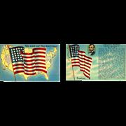 2 American Flags 48 Stars Abraham Lincoln. Gettysburg Address Postcards