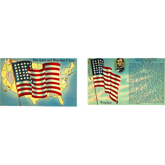 2 American Flags 48 Stars Abraham Lincoln. Gettysburg Address Postcards