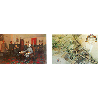 VA The Surrender of General Lee to General Grant Aerial View of Appomattox Court House Where it was Signed Postcards 2 PC