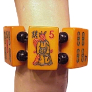 Bakelite Jan Carlin Designer Mah Jong King Bracelet Hand Painted
