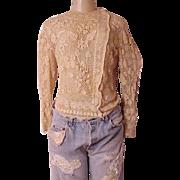 Antique 1900  Victorian Irish Lace Blouse  Hand made sz medium