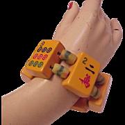 Jan Carlin Designer bakelite mah jong bracelet with sand beads