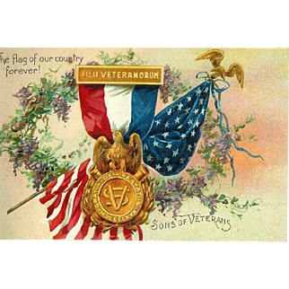 Son's of Veterans Medal with Flag Embossed Tuck's Postcard 1915