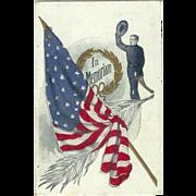 Patriotic In Memorandum Soldier taking Hat off American Flag Embossed Postcard 1907