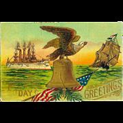 Memorial Day Greetings Patriotic Ships Eagle 1915 Embossed Postcard