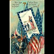 Civil War Patriotic Military Postcard Tuck's Embossed Lady Liberty American Flag Civil War 1910