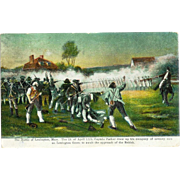 MA Battle of Lexington Postcard 1915 Revolutionary War Captain Parker