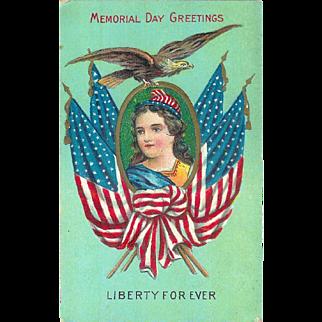 Memorial Day Greeting Postcard Patriotic Lady Liberty 1910 Flag