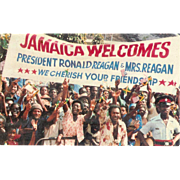Jamaica Welcomes President Ronald Reagan Crowd Waving 1982 Postcard