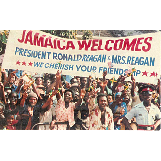 Jamaica Welcomes President Ronald Reagan Crowd Waving 1982 Postcard
