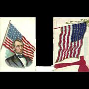 2 Patriotic Abraham Lincoln American Flag  1900-1905 Postcards Folk Art