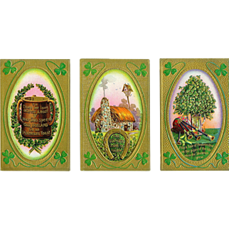 3 Irish Postcards Thatched Roof, Irish Sayings Embossed Bagpipes Shamrock Framed Good Condition