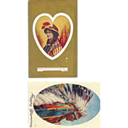 2 Native American Portraits Man and Women 1910 Postcards Valentine