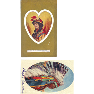 2 Native American Portraits Man and Women 1910 Postcards Valentine
