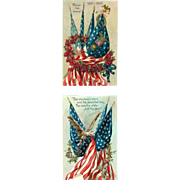 2 Memorial Decorated Flags Civil War Postcards Tuck & Son 1910