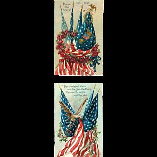 2 Memorial Decorated Flags Civil War Postcards Tuck & Son 1910