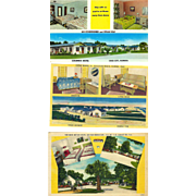 3 Tacky Florida Motels with Chenille Bedspreads Postcard Lot Chrome& Linen 40s