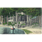 NH Bradford Massassecum Lake Canoeing Postcard 1915