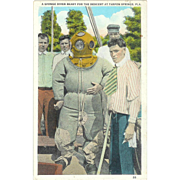 FL Tarpan Springs Sponge Diver Weird large Tie Postcard 1932