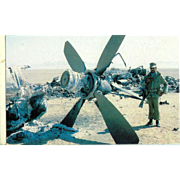 Iranian aborted Rescue Attempt Mission Helicopter debris Jimmy Carter Postcard 1980